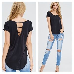 Black High Low Cap Sleeve Cut Out V-Back Tee